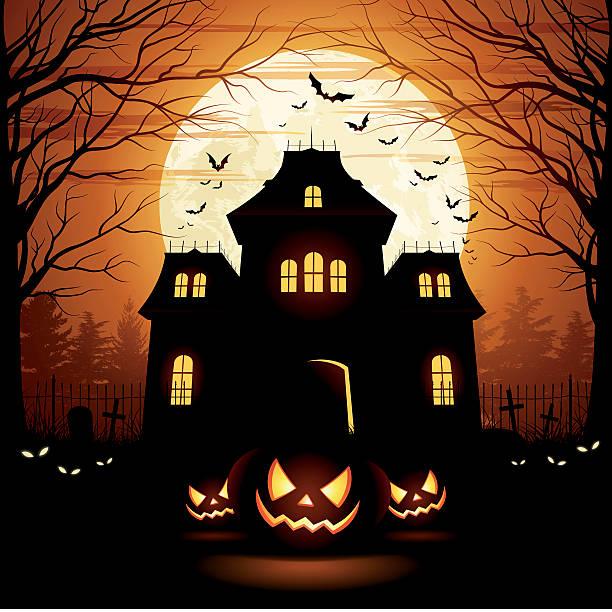 bildbanksillustrationer, clip art samt tecknat material och ikoner med halloween spooky house - fasa