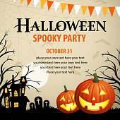 Halloween pumpkin lanterns spooky party.