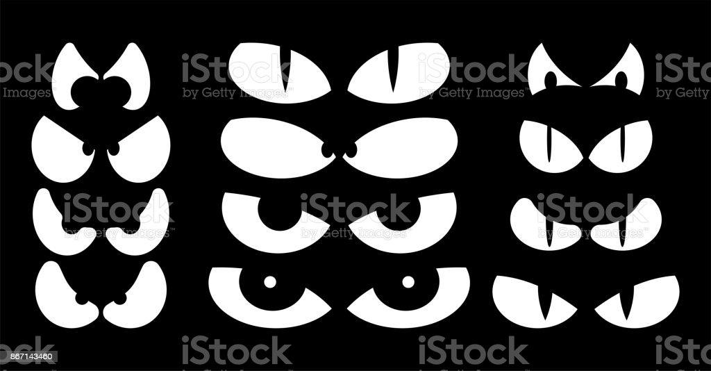 Halloween Spooky Scary Eyes Vector Design Isolated On Black