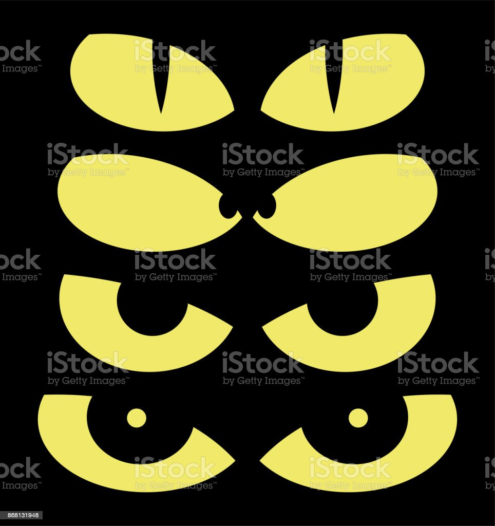 halloween spooky scary eyes vector design isolated on black