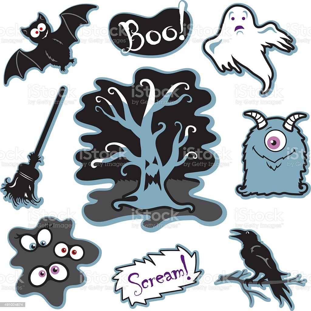 halloween spooky tree with face silly monster eyes in dark stock rh istockphoto com Evil Eyes Clip Art Evil Eyes Clip Art