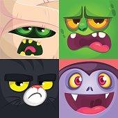 Halloween square avatars. Mummy, zombie, black cat, vampire. Vector cartoon  illustrations