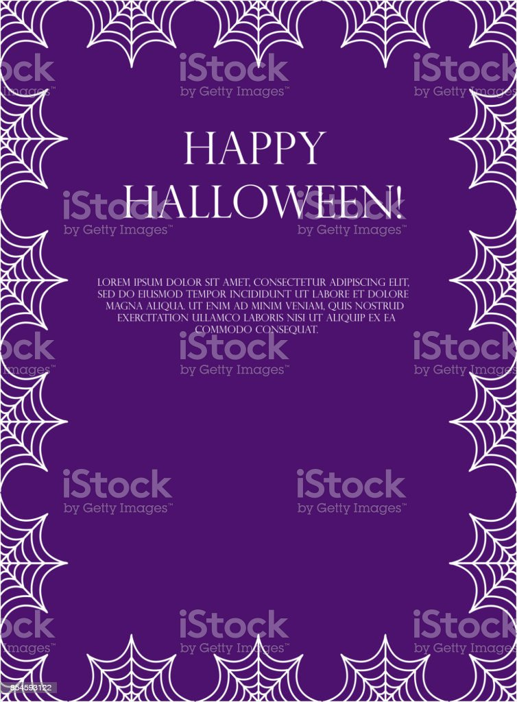 halloween square frame for text with spider web template for your
