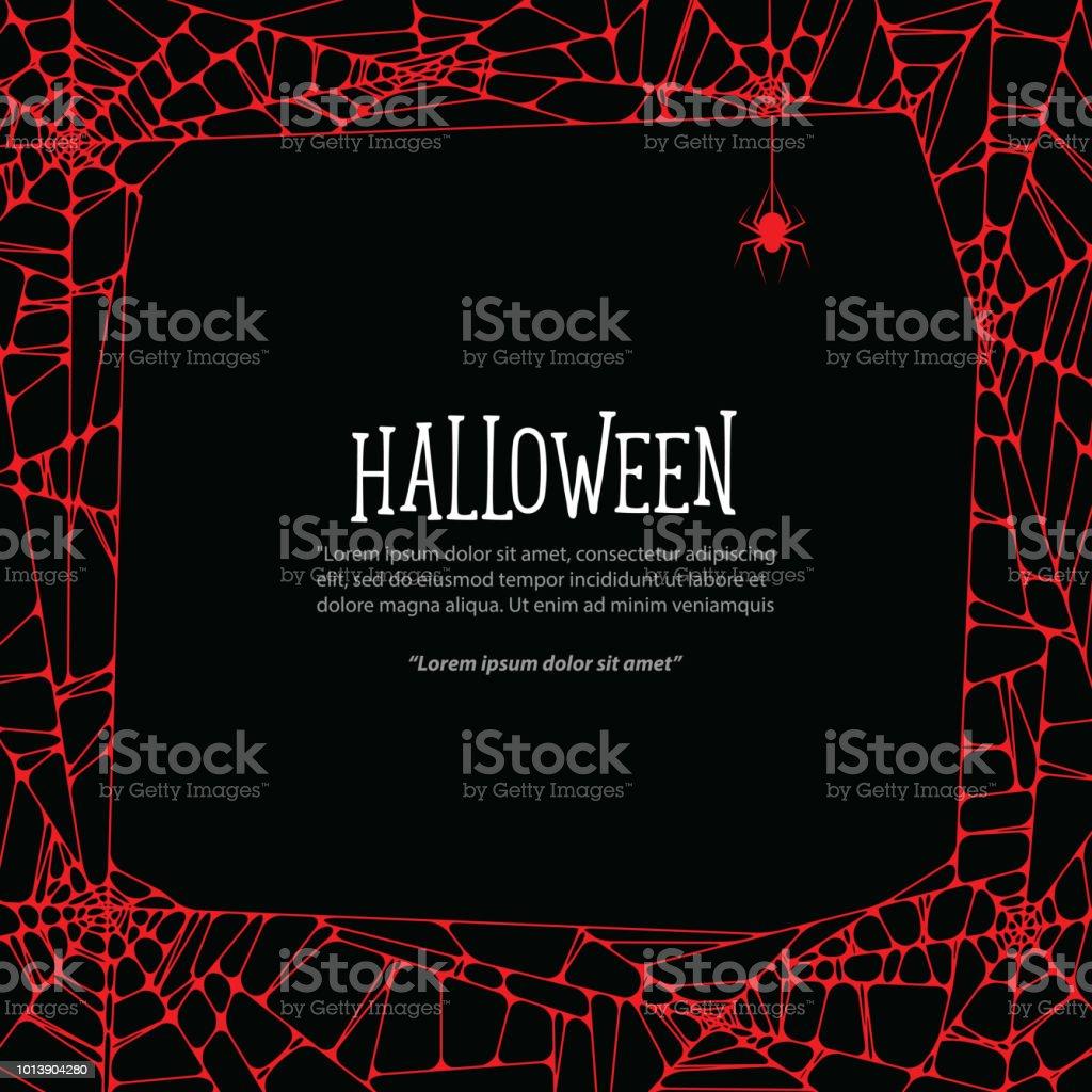 Halloween Roten Quadratischen Rahmen Spinnennetz Und Spinne Auf ...