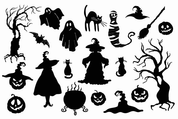 Halloween stencil on the white background Vector witch, magic hat, carving face pumpkin lantern, ghost, mummy, tree, cat, broom, cauldron and bat isolated on the white background. Laser cutting template decorative laser cut set stock illustrations