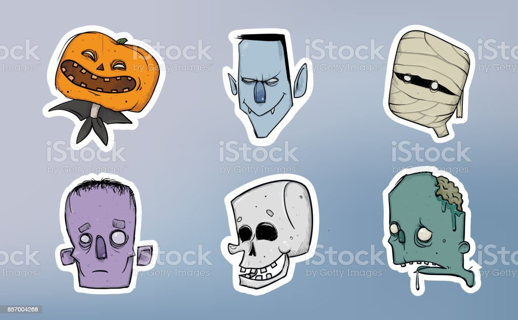 Halloween Sticker Pack Zombie Skeleton Mummy And Other Scary