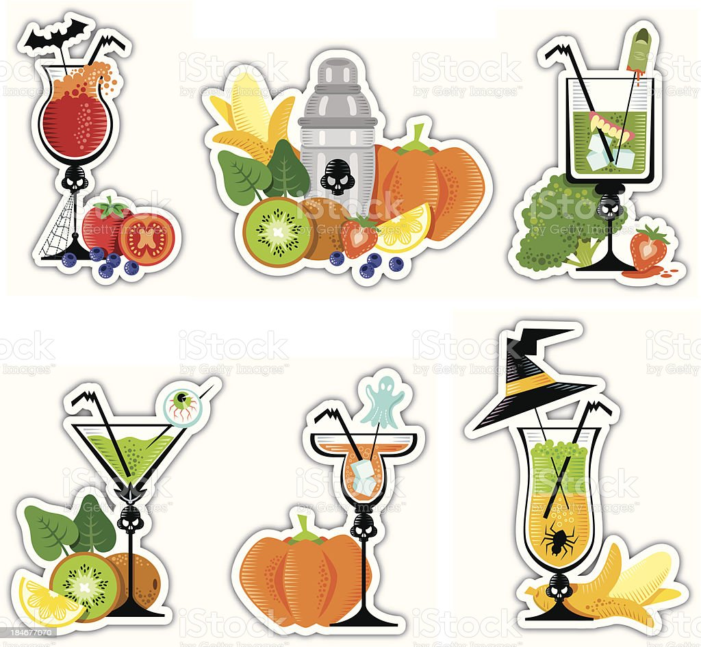 Halloween Stickers Cocktails royalty-free stock vector art