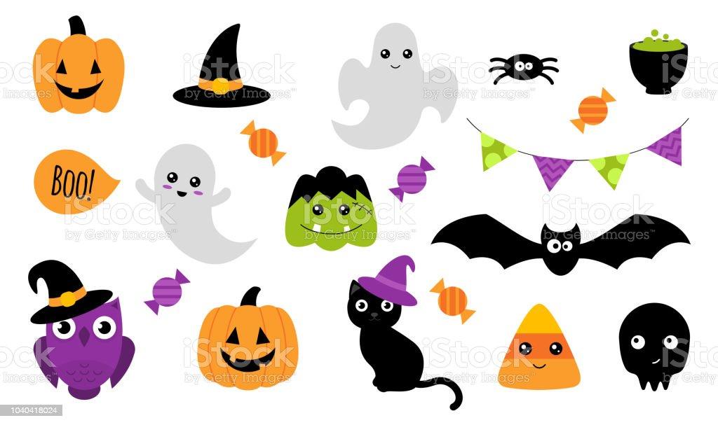 Etiquetas engomadas de Halloween. Aislado en blanco. Vector de - arte vectorial de Araña libre de derechos