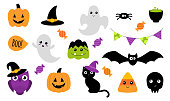 Halloween stickers. Set of cute Halloween stickers with different characters. Ghost, pumpkin, owl, cat, bat. Isolated on white. Vector illustration