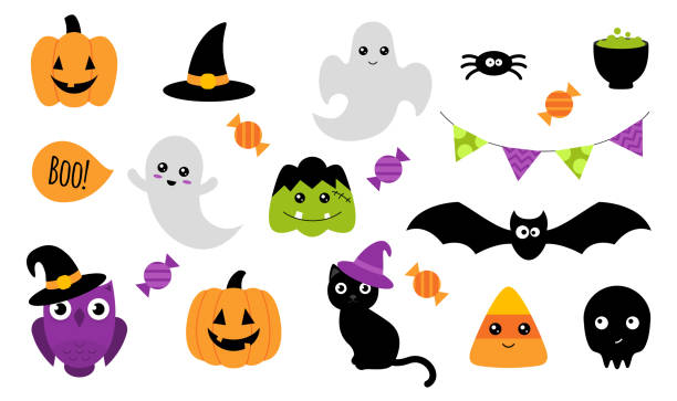Halloween stickers. Isolated on white. Vector Halloween stickers. Set of cute Halloween stickers with different characters. Ghost, pumpkin, owl, cat, bat. Isolated on white. Vector illustration ghost icon stock illustrations