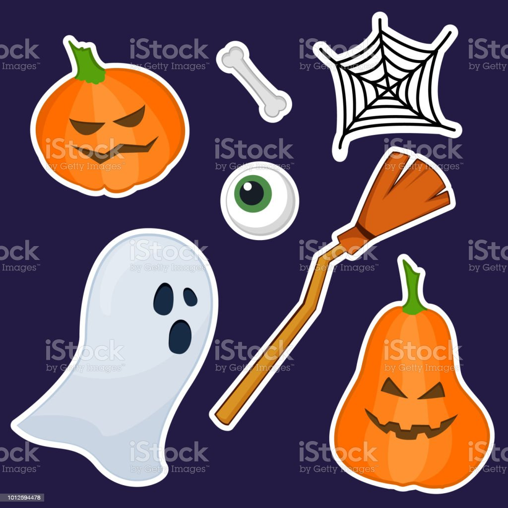 halloween stickers made of hand painting stock vector art more