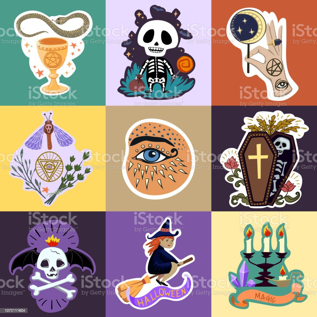 graphic relating to Halloween Stickers Printable named Halloween Stickers Fixed Vector Selection For Print And