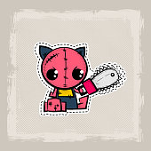 Halloween stitch zombie kitty voodoo doll. Evil cat sewing monster. Cute colored vector halftone sticker sketch. Cartoon angry killer character.