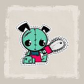 Halloween stitch puppy zombie voodoo doll. Evil dog sewing monster. Cute colored vector halftone sticker sketch. Cartoon angry killer character.