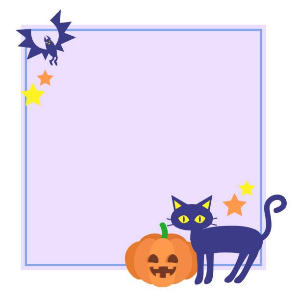 Halloween style cat and pumpkin frame vector art illustration