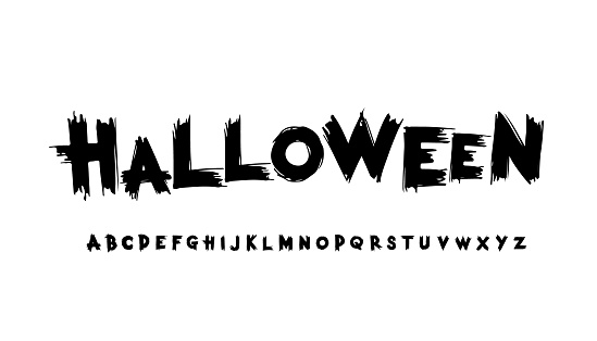 Halloween stylized grunge font. Alphabet
