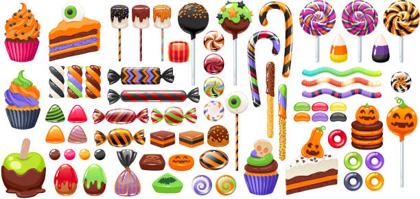 halloween sweet treats set. candies and snacks. - halloween candy stock illustrations