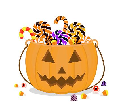 Halloween sweets in a cauldron pumpkin