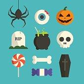 Halloween symbol illustration set vector