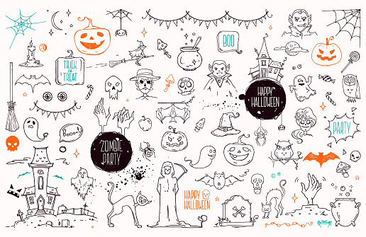 Halloween Symbols Linear Illustrations, Lettering Clip Art Collection. Hand Drawn Elements For Festive Flyer, Poster, Banner, Invitation Design Templates. Isolated On White Background.