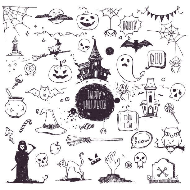 Halloween Symbols Linear Illustrations, Lettering Clipart Collection. Hand Drawn Elements For Festive Flyer, Poster, Banner, Invitation Design Templates. Isolated On White Background. Hand drawn Halloween traditional symbols. Doodle style illustrations, carved pumpkin, spider webs, witch on a broom, bat, zombie hands, skulls, grim reaper, magic potion pot. Vector clipart collection isolated vector on white background. ghost icon stock illustrations