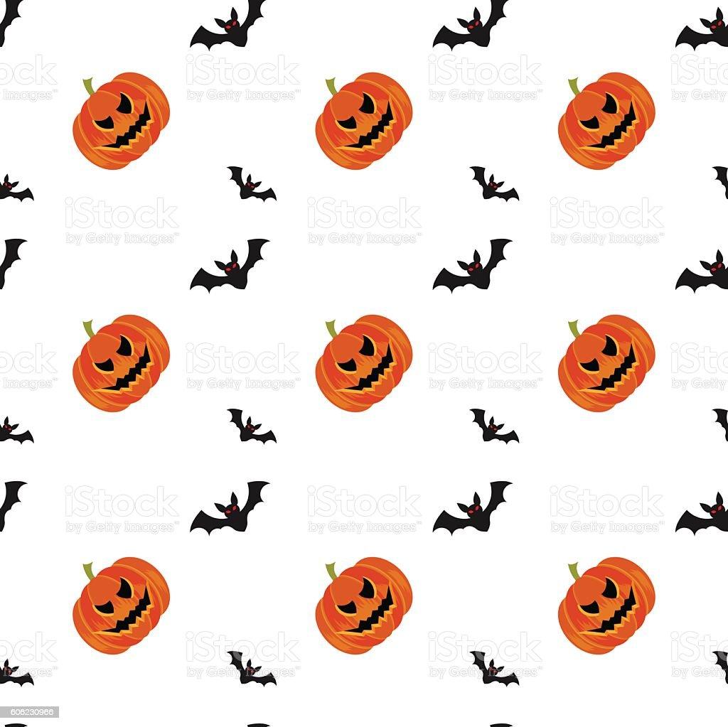 Halloween Symbols Pumpkin And Bats Seamless Pattern On White ...