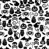 Halloween symbols seamless pattern. Pumpkin, black cats, bat, skull, spider, lollipop magic hat holiday background - black and white color.