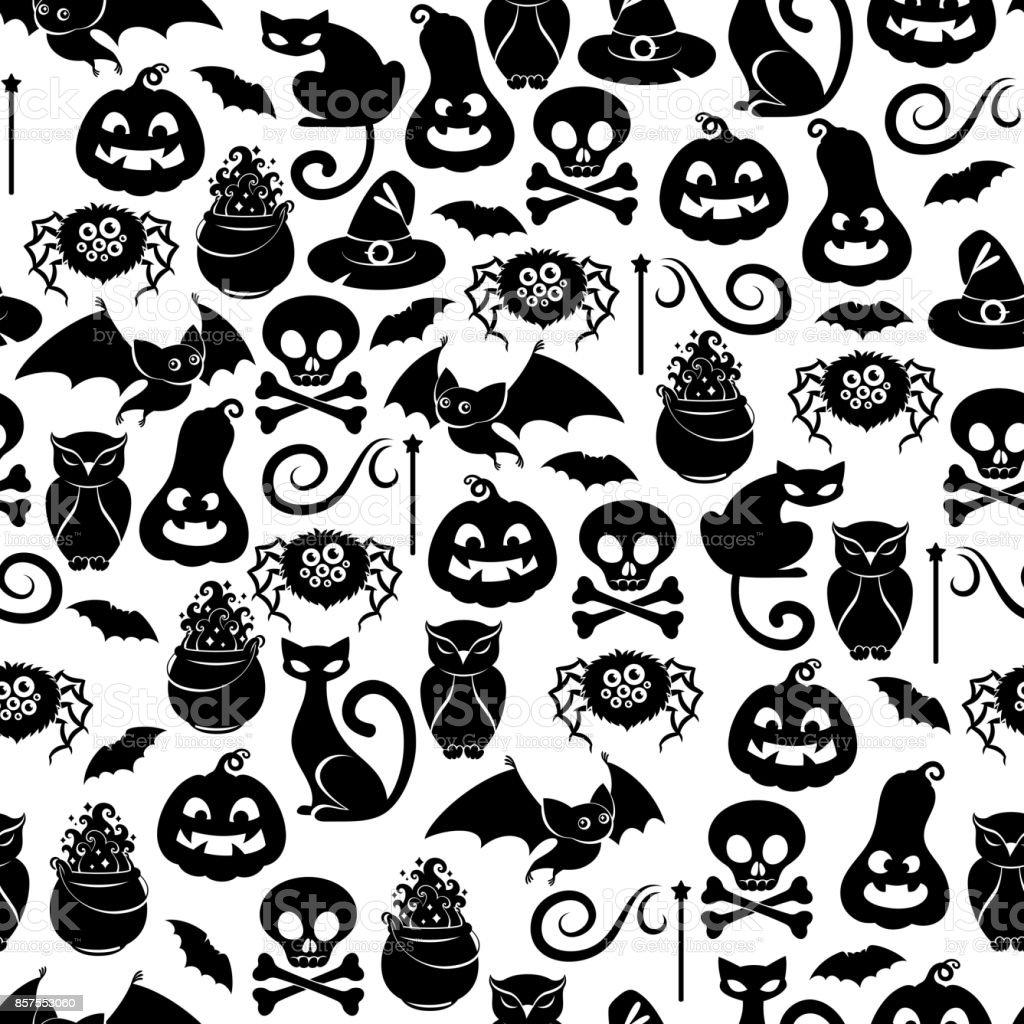 Halloween symbols seamless pattern vector art illustration