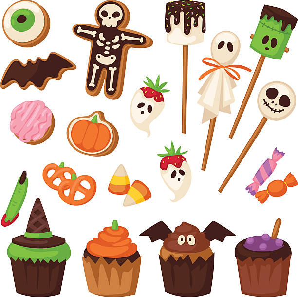 halloween symbols vector collection. - halloween candy stock illustrations