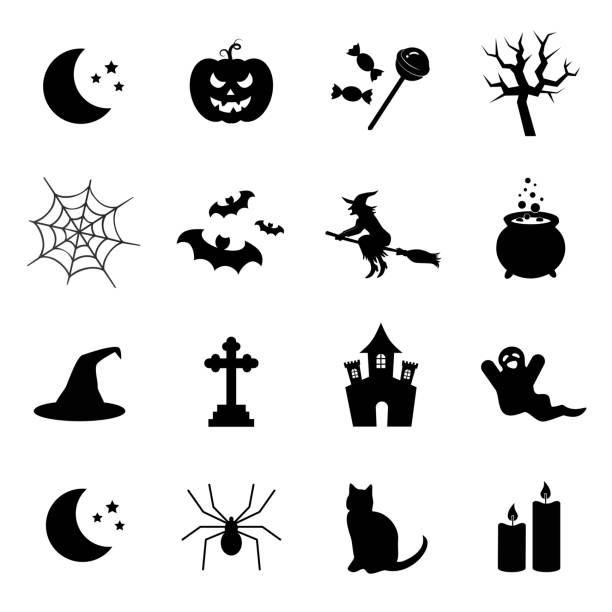 illustrazioni stock, clip art, cartoni animati e icone di tendenza di simboli di halloween. set di icone vettoriali. - halloween