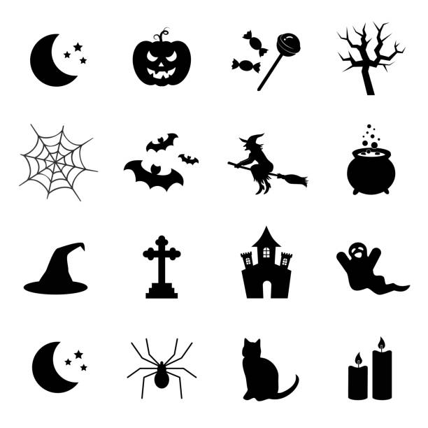 Halloween symbols. Vector icon set. Vector art: halloween icons. ghost icon stock illustrations