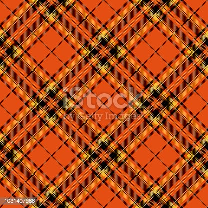 Orange, black and yellow Halloween tartan plaid decorative seamless pattern.
