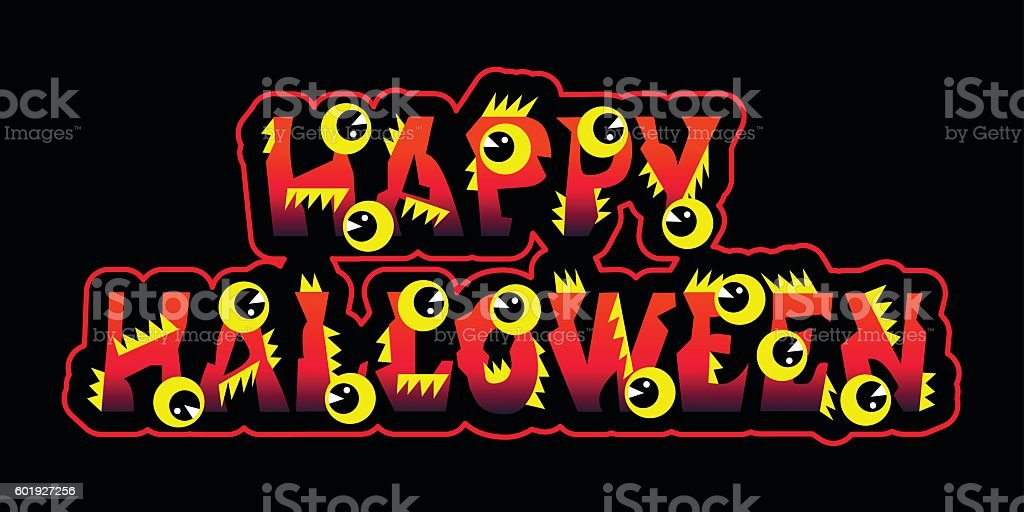 Halloween Text Holiday Greeting And Lettering With Eyes stock ...