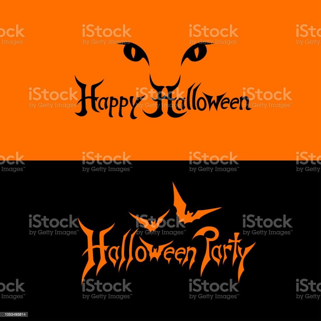 Halloween text logo vector art illustration