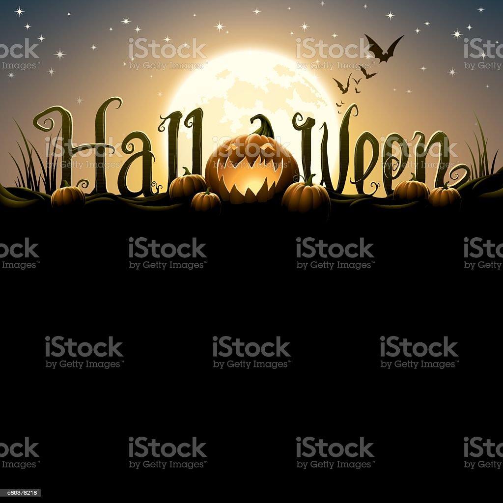 Halloween text with pumpkins vector art illustration