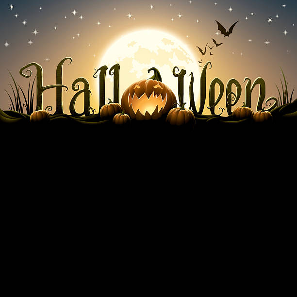 Halloween text with pumpkins – Vektorgrafik