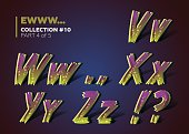 Halloween Theme. 3D Colorful Typeset for Zombie Apocalypse or End of the World Party Decoration. Letters with Infected Skin Effect. Scary Font in Retro Comic Style with Dirty Gradient and Spots.