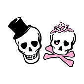 Gentleman and lady skeleton, Smiling sculls with had hat and princess crown.