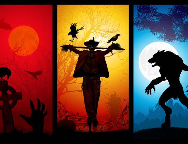 Halloween Theme Halloween Theme, File also contains tree separated eps and jpg illustrations. scary halloween scene silhouettes stock illustrations