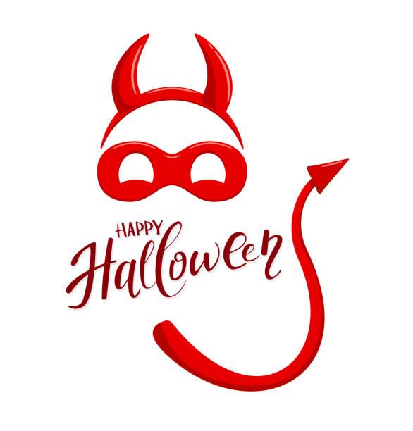 illustrations, cliparts, dessins animés et icônes de thème de l'halloween avec des éléments de costume de diable - cornu