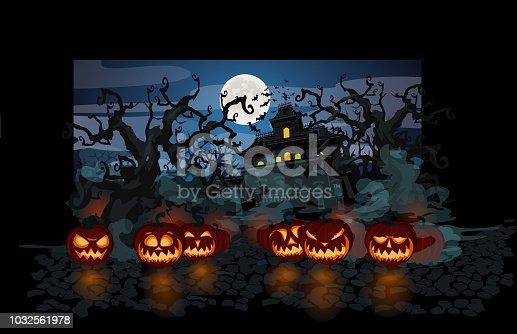 Halloween theme with lit pumpkins on dark background