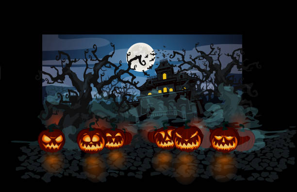 Halloween theme with lit pumpkins on dark background Halloween theme with lit pumpkins on dark background porch stock illustrations