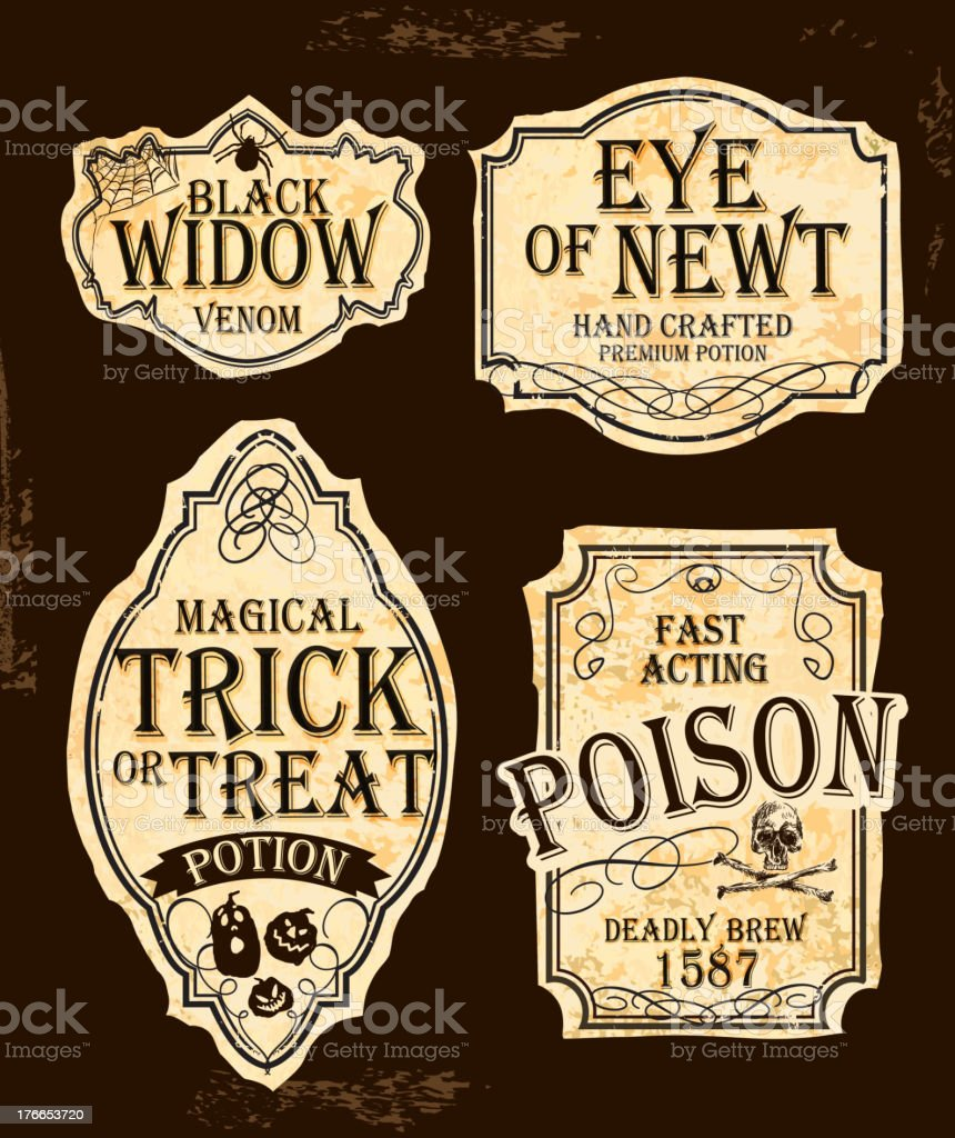 Fresh Halloween Themed Old Fashioned Label Designs Stock Vector Art  BD44