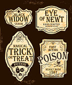 Halloween themed old fashioned label designs