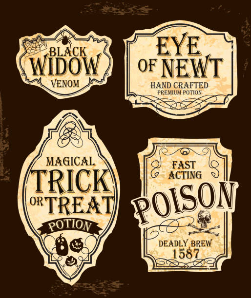Halloween themed old fashioned label designs Vector Halloween labels in old fashioned style designs. Includes text design that read 'Black Widow Venom', Eye of Newt Hand crafted Premium Potion, Magical Trick or Treat Potion, Fast Acting Poision - Deadly Brew 1587. Download includes Illustrator 10 eps, high resolution jpg and png file. potion stock illustrations