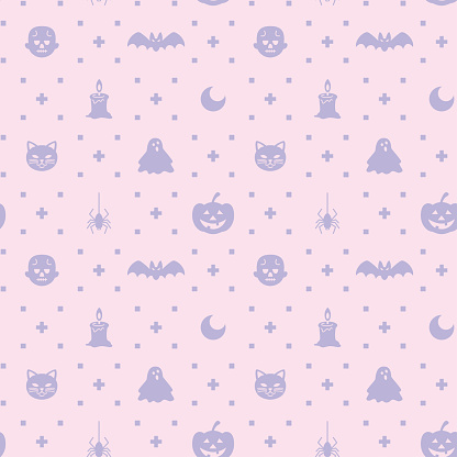 Halloween themed silhouette icon seamless pattern