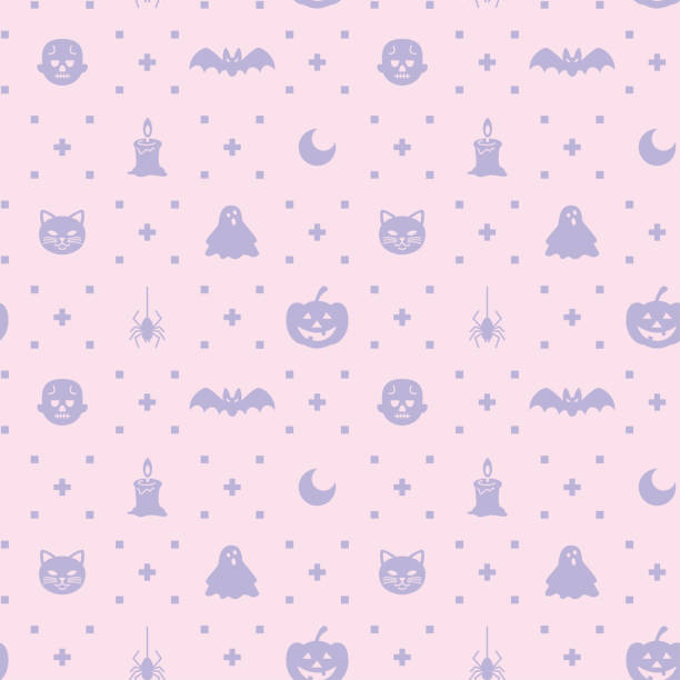 Halloween themed silhouette icon seamless pattern vector illustration ghost icon stock illustrations