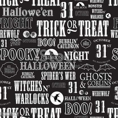 istock Hallowe'en themed words repeating seamless background 165977267