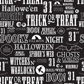 Hallowe'en themed words repeating seamless background