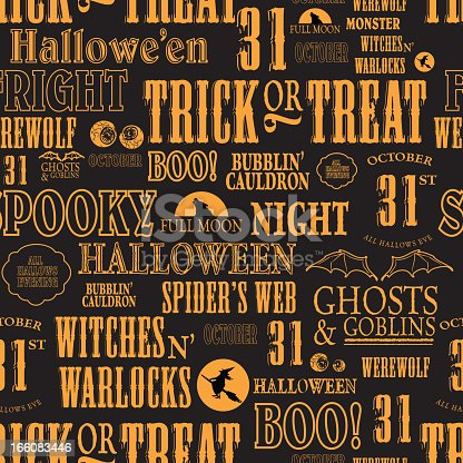 istock Hallowe'en themed words repeating seamless orange and black background 166083446